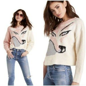 WILDFOX Fox Sable Sweater Taupe Rose Pink Silver